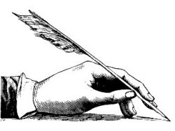 hand holding a quill pen